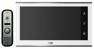Комплектная дверная станция (домофон) CTV CTV-DP2702MD серебро (дверная станция) белый (домофон)