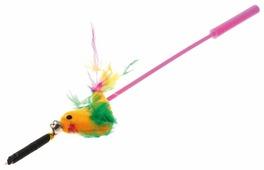 Дразнилка для кошек V.I.Pet Дразнилка-удочка с игрушкой птица с перьями (ST-101/102)