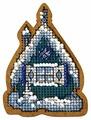 Созвездие Набор для вышивания крестом на основе Новогодняя игрушка Теремок 4,5 х 8 см (ИК-001)