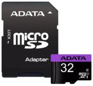 Карта памяти ADATA Premier microSDHC Class 10 UHS-I U1 + SD adapter