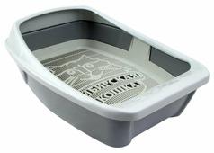 Туалет-лоток для кошек Сибирская кошка Евро глубокий с сеткой и бортиком 44х32х16 см