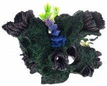 Грот BARBUS Коряга с растением Decor 036 30.5x20.5x20 см