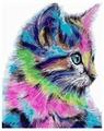 """Цветной Картина по номерам """"Разноцветная кошка"""" 40х50 см (MG2077)"""