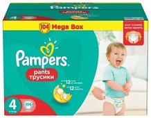 Pampers трусики Pants 4 (9-14 кг) 104 шт.