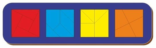 Рамка-вкладыш Woodland Сложи квадрат 4 квадрата уровень 3 (064506), 19 дет.