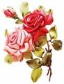 Цветной Вышивка лентами Розы 20 х 30 см (VL007)