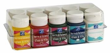 Краски LEFRANC & BOURGEOIS Набор Glass&Tile LF210957 10 цв. (50 мл.)