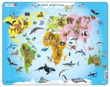 Рамка-вкладыш Larsen Карта мира с животными (A34), 28 дет.