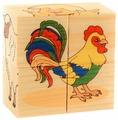 Кубики-пазлы Развивающие Деревянные Игрушки Домашние Животные Д480а