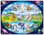 Рамка-вкладыш Larsen Планета животных (NM6), 15 дет.