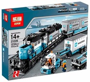 Электромеханический конструктор Lepin Train Series 21006 Товарный поезд Майерск