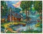 "Рыжий кот Картина по номерам ""Домик у пруда"" 40х50 см (Х-8224)"