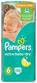 Pampers подгузники Active Baby-Dry 6 (15+ кг) 56 шт.