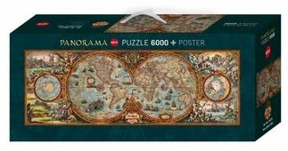 Пазл Heye Панорама Карта полушарий (29615), 6000 дет.