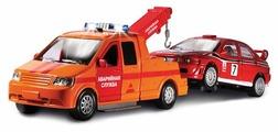 Набор машин ТЕХНОПАРК Эвакуатор Аварийная служба с машинкой (CT1241O) 1:43