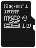 Карта памяти KINGSTON MicroSDHC 16 Гб Canvas Select с адаптером SD (SDCS/16GB)