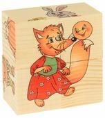 Кубики-пазлы Развивающие Деревянные Игрушки Колобок Д502а
