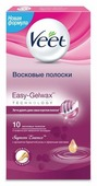Veet Восковые полоски Easy Gelwax Suprem'Essence с ароматом бархатной розы и эфирными маслами