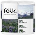 Туалетная бумага Folk белая трехслойная