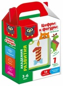 Набор карточек Vladi Toys Академия развития. Цифры и фигуры на кольце 13.8x9.9 см 18 шт.