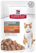 Корм для стерилизованных кошек Hill's Science Plan для профилактики МКБ, с индейкой 85 г (кусочки в соусе)