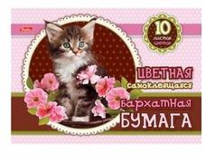 Цветная бумага бархатная Котенок в цветах Hatber, A5, 10 л., 10 цв.