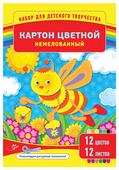 Цветной картон немелованный, в папке, в ассортименте ArtSpace, A4, 12 л., 12 цв.