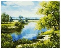 "Белоснежка Картина по номерам ""Лесное озеро"" 40х50 см (167-AB)"
