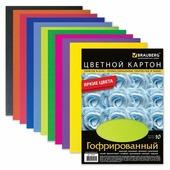 Цветной картон гофрированный BRAUBERG, A4, 10 л., 10 цв.