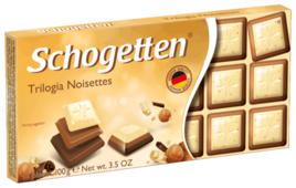 Шоколад Schogetten Trilogia Noisettes белый с грильяжем и фундуком, и молочный с джандуей и фундуком порционный