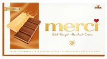 Шоколад Merci молочный порционный с ореховым кремом