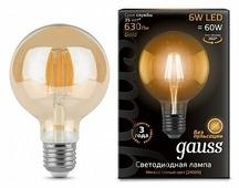 Лампа светодиодная gauss 105802006, E27, G95, 6Вт