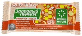 Злаковый батончик Absolute NATURE Здоровый перекус с орехами и мёдом, 60 г