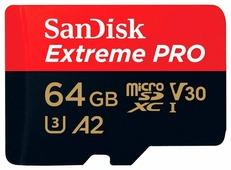 64Gb - SanDisk MicroSD Extreme Pro Class 10 SDSQXCY-064G-GN6MA с переходником под SD