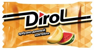 Жевательная резинка Dirol Cadbury Арбузно-дынный коктейль, без сахара 100 шт.
