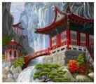 Сделай своими руками Набор для вышивания крестиком Водопад и пагода 40 х 35 см (В-12)