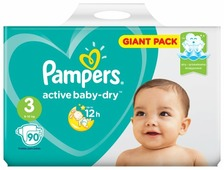 Pampers подгузники Active Baby-Dry 3 (6-10 кг) 90 шт.