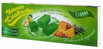 Конфеты желейные Умные сладости без сахара ананас-зеленая груша 90 г