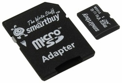 Карта памяти SmartBuy microSDXC Class 10 UHS-I U1 V10 + SD adapter