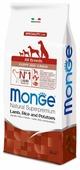 Корм для щенков Monge Speciality line для здоровья кожи и шерсти, для здоровья костей и суставов, ягненок с рисом, с картофелем