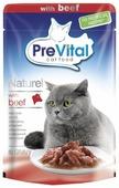Корм для кошек PreVital с говядиной 85 г (кусочки в соусе)