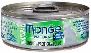 Корм для кошек Monge Natural с курицей, с тунцом 80 г