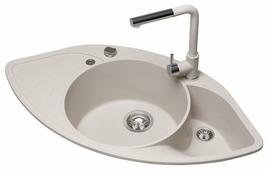 Врезная кухонная мойка AQUASANITA Papillon SCP151AW 94.5х50.5см искусственный гранит