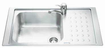 Интегрированная кухонная мойка smeg LV95F1D-2 86.7х51.2см нержавеющая сталь