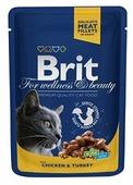 Корм для кошек Brit Premium беззерновой, с курицей, с индейкой 100 г (кусочки в соусе)