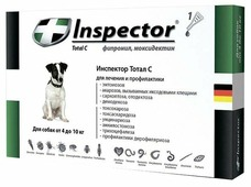Inspector Total C Капли от блох, клещей и гельминтов для собак от 4 до 10 кг