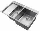 Врезная кухонная мойка AQUASANITA Luna LUN151N-R 78х50см нержавеющая сталь