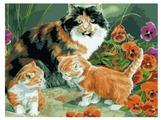 "Рыжий кот Картина по номерам ""Кошка с котятами"" 40х50 см (G1148)"