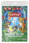 Цветной картон лакированный Creativiki, A4, 10 л., 10 цв. с европодвесом
