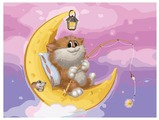 "Белоснежка Картина по номерам ""Котик на Луне"" 30х40 см (746-AS)"